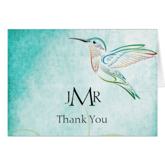Aqua-Kolibri-Aquarell-Jahrestag danken Ihnen Karte