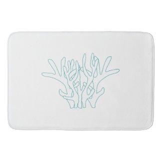 Aqua-korallenrotes Weiß Badematte