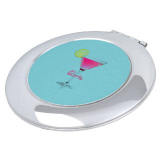 Aqua-Martini-Cocktail-Aqua-Fushia-Spaß-Monogramm Taschenspiegel