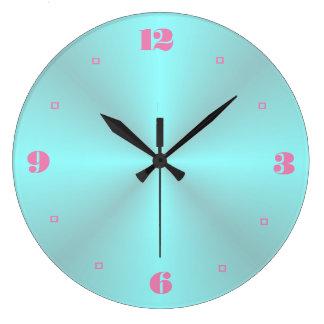 Aqua mit rosa Numerals> einfachen Küchen-Uhren Große Wanduhr