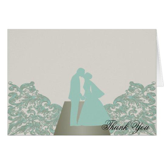 Aqua-Mokka-danken Vintage Silhouette-Hochzeit Mitteilungskarte