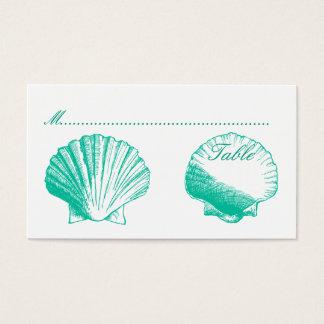 Aqua-Muscheln, die Empfangs-Sitzplatz-Karten Visitenkarte