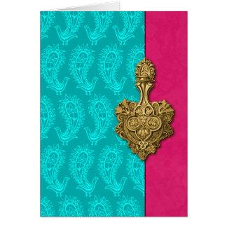 Aqua-Paisley-Pfau-Inder-Mitteilungskarten Mitteilungskarte