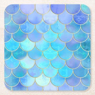 Aqua Pearlescent u. Goldmeerjungfrau-Skala-Muster Rechteckiger Pappuntersetzer
