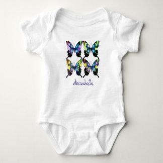 """Aqua, Rosa und Gelb - elegante Schmetterlinge "" Baby Strampler"