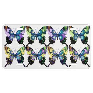 Aqua, Rosa und Gelb - elegante Schmetterlinge US Nummernschild