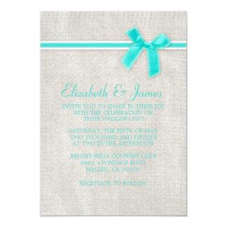 Aqua-rustikale Leinwand-Hochzeits-Einladungen 12,7 X 17,8 Cm Einladungskarte