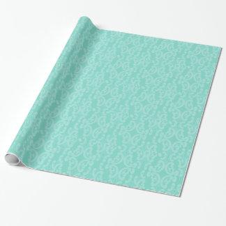 Aqua-Seeblau-Damast Geschenkpapier