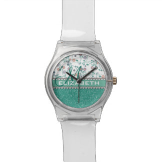 Aqua-Türkis-Monogramm-Blumen-Glitter-Muster Armbanduhr