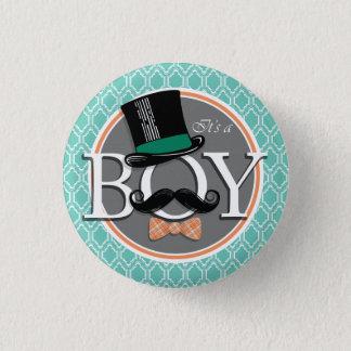 Aqua-Türkis-Retro lustige Jungen-Babyparty Runder Button 2,5 Cm