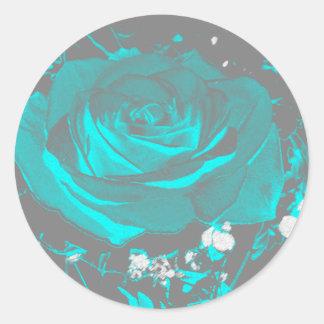 Aqua-Türkis-Rosen-Rosen-Blüten-Blumen-Blumen Runder Aufkleber