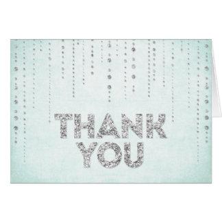 Aqua-u. Silber-Glitter-Blick danken Ihnen zu Grußkarte