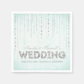Aqua-u. Silber-Glitter-Blick-Hochzeits-Servietten