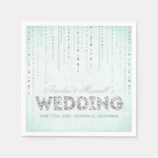 Aqua-u. Silber-Glitter-Blick-Hochzeits-Servietten Serviette