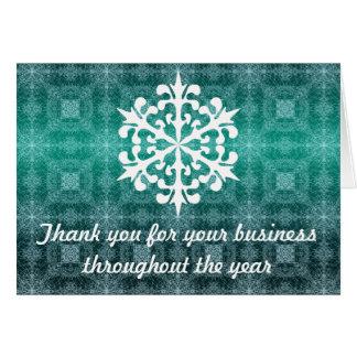 Aqua u. weißer Geschäfts-Feiertag danken Ihnen Mitteilungskarte