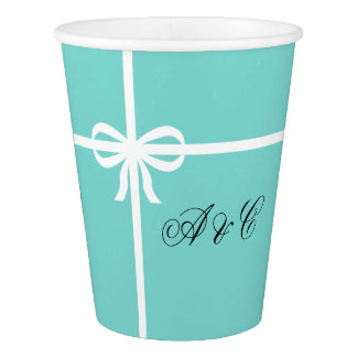 Aqua-und Weiß-Bogen-Party-Papierschalen Pappbecher