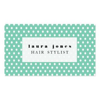 Aqua und weiße Polka-Punkt-Haar-Stylist-Schablone Visitenkarten