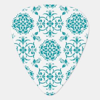 Aqua und weißes Blumendamast-Muster Plektron