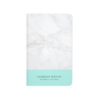 Aqua und weißes modernes personalisiertes des taschennotizbuch
