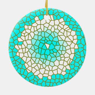 Aqua-weiße Buntglas Design> Muster-Verzierungen Keramik Ornament