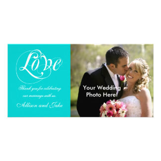 Aqua-weiße Hochzeit danken Ihnen Foto-Karten-Schab Foto Karte