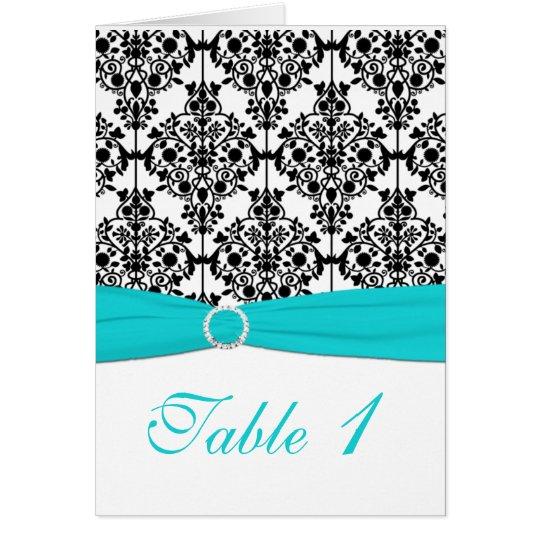 Aqua-, weiße und Schwarzedamast-Tischnummer-Karte Grußkarte