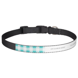 Aqua-weißes Gingham-Muster Hundehalsband