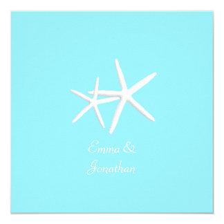 Aquablaue Starfish-Strand-Hochzeits-Einladungen Quadratische 13,3 Cm Einladungskarte