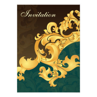 Aquagoldeleganz-Hochzeitseinladung Personalisierte Einladung