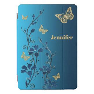 "Aquamarin, Gold mit Blumen, Schmetterlinge 10,5"" iPad Pro Cover"