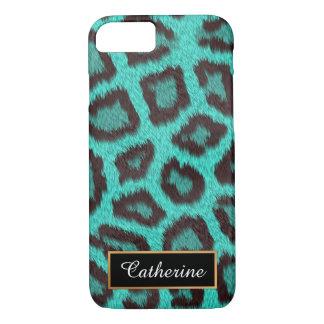 Aquamarin, Leopard personalisiert mit Namen iPhone 8/7 Hülle