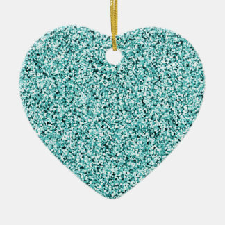 Aquamarine-Blau-Imitat-Glitter Keramik Ornament