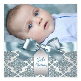 Aquamarine blaue Damast-Baby-Jungen-Foto-Taufe Quadratische 13,3 Cm Einladungskarte
