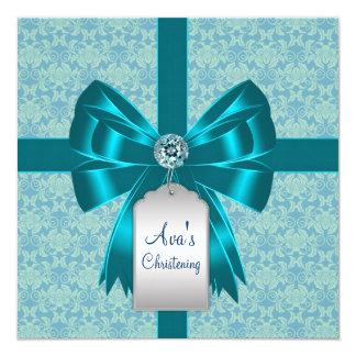 Aquamarine blaue Damast-Baby-Taufe-Taufe Quadratische 13,3 Cm Einladungskarte