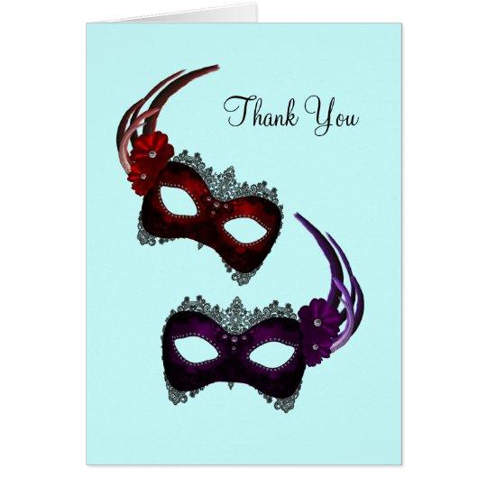 Aquamarine blaue Karneval-Masken danken Ihnen Mitteilungskarte
