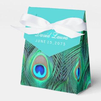 Aquamarine blaue Pfau-Hochzeit Geschenkkarton