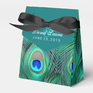 Aquamarine blaue Pfau-Hochzeit Geschenkschachtel
