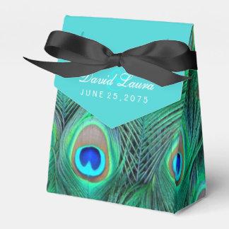 Aquamarine blaue Pfau-Hochzeit Geschenkschachteln