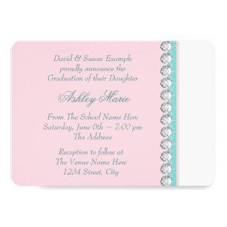 Aquamarine blaue rosa Prinzessin Graduation 12,7 X 17,8 Cm Einladungskarte