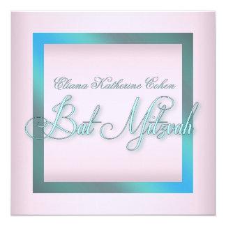 Aquamarine blaue rosa Schläger Mitzvah Einladungen