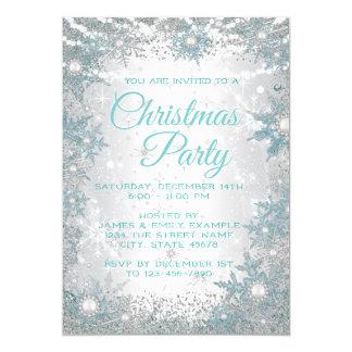 Aquamarine blaue Schneeflocke-WeihnachtsParty Karte