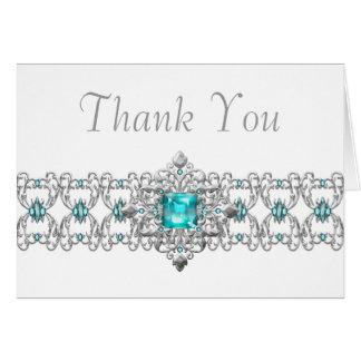 Aquamarine Blaue und silberne danken Ihnen Karten