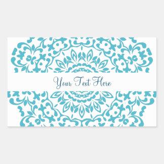 Aquamarine blaue weiße elegante noble Spitze Rechteckiger Aufkleber