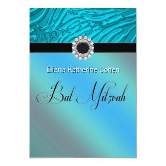 Aquamarine blaue Zebra-Schläger Mitzvah Karte