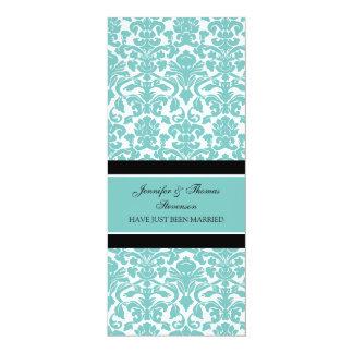 Aquamarine Damast-gerade verheiratete 10,2 X 23,5 Cm Einladungskarte