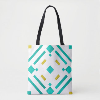 Teal Diamonds Pattern Tote Bag