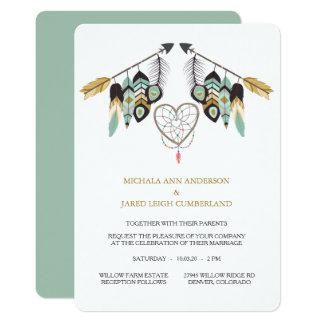 Aquamarine Feder-Pfeil Dreamcatcher Hochzeit Karte