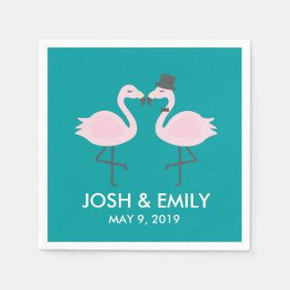 Aquamarine Flamingo-Hochzeits-Braut-u. Servietten