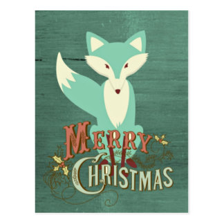 Aquamarine frohe Weihnacht-Karte Fox Postkarte