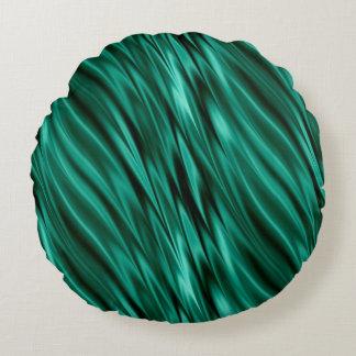Aquamarine grüne seidige Wellen Rundes Kissen